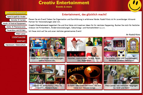 Creativ Entertainment Internetseite