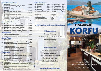 Restaurant Korfu Flyer